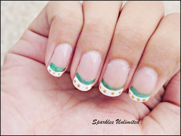 Sparkles unlimited easy cool nail art in white greeneasy cool items required prinsesfo Choice Image