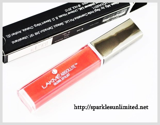 oss Stylist CORAL SUNSET Swatches,Lakme Absolute Gloss Stylist , Lakme Absolute Gloss Stylist Review,Lakme Absolute Gloss Stylist Swatches, Lakme India, Lakme Absolute India, Lakme Absolute