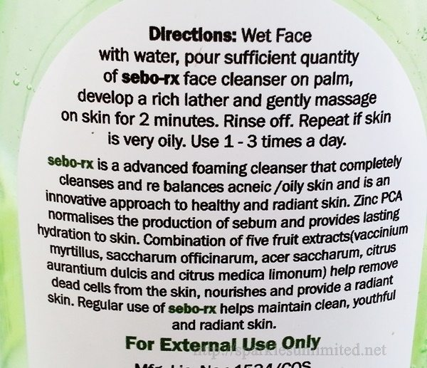 Cosmoderm India Sebo Rx Face Wash Review