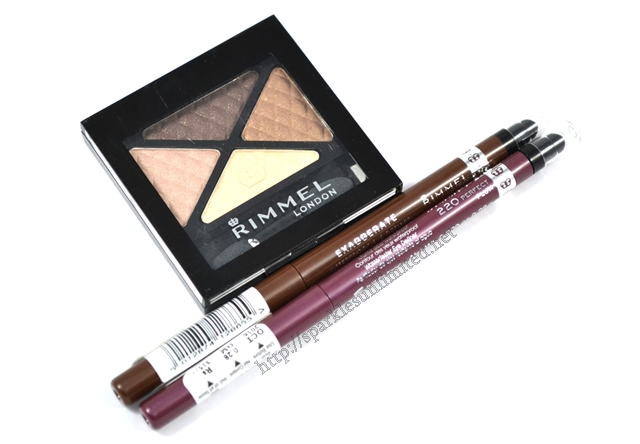 Rimmel Glam Eyes Quad Eye Shadow 002 Smokey Brun, Rimmel Exaggerate Waterproof Eye Definer,  Rimmel Exaggerate Waterproof Eye Definer 220 PERFECT PLUM, Rimmel London, Rimmel India 211 SABLE
