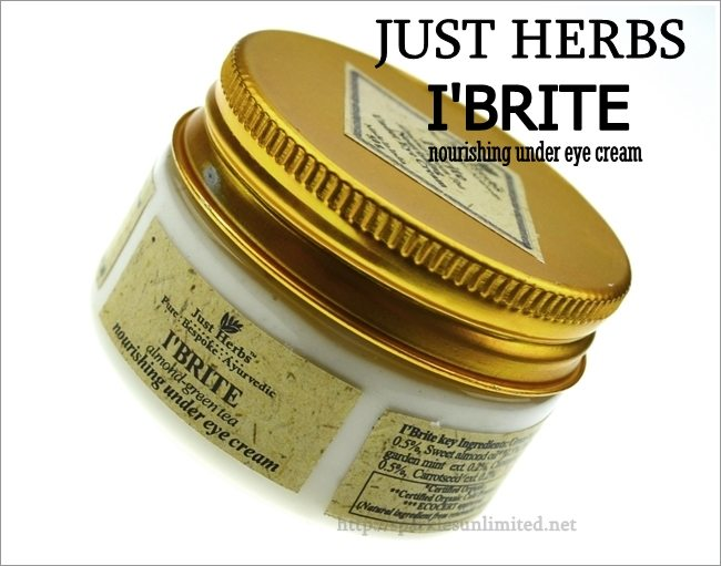 Just Herbs I'BRITE Almond-Green Tea Nourishing Under Eye Cream,Just Herbs I'BRITE Almond-Green Tea Nourishing Under Eye Cream Review,Just Herbs, Eyecare, Under Eye Cream, Eye Treatments, Nourishing Eye Cream